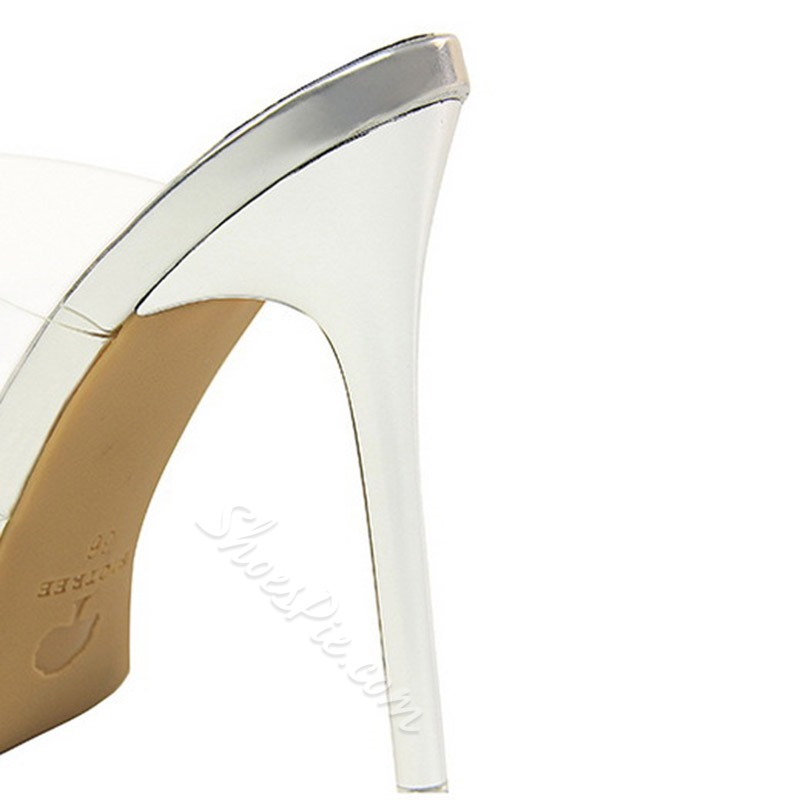 Shoespie Clear Stiletto Heel Closed Mules