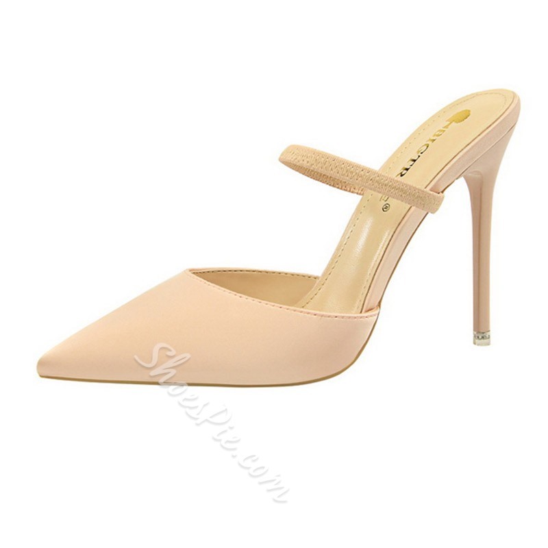 Shoespie Sexy Stiletto Heel Closed Toe Slip-On Mules