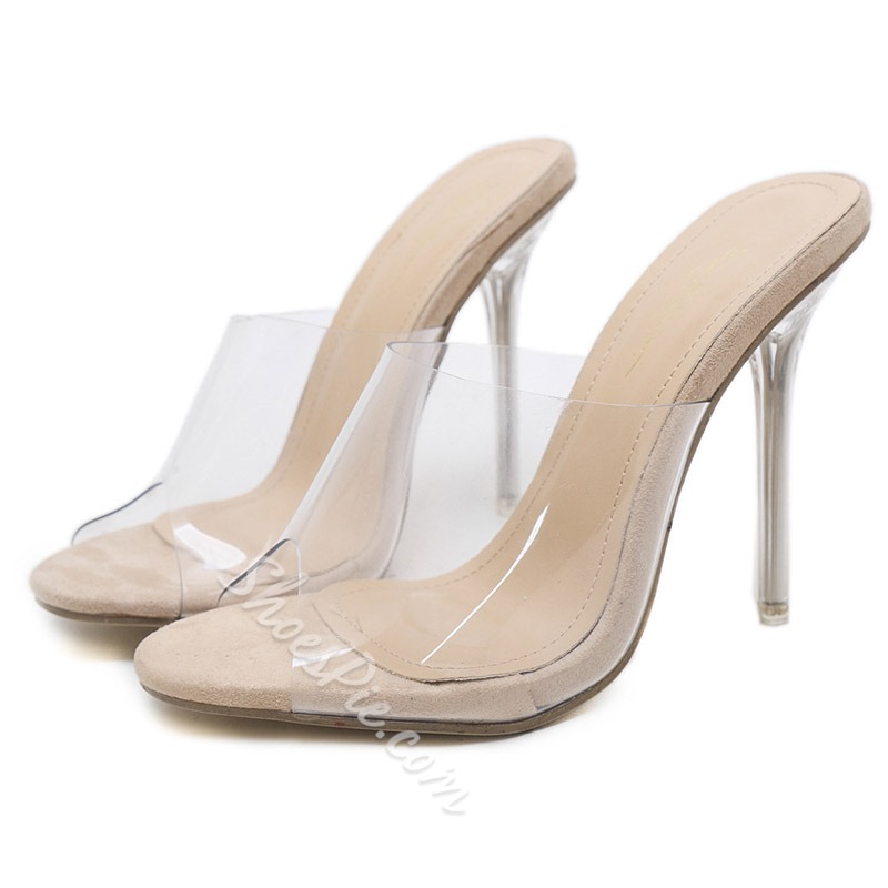 Shoespie Backless Stiletto Heel Clear Mules
