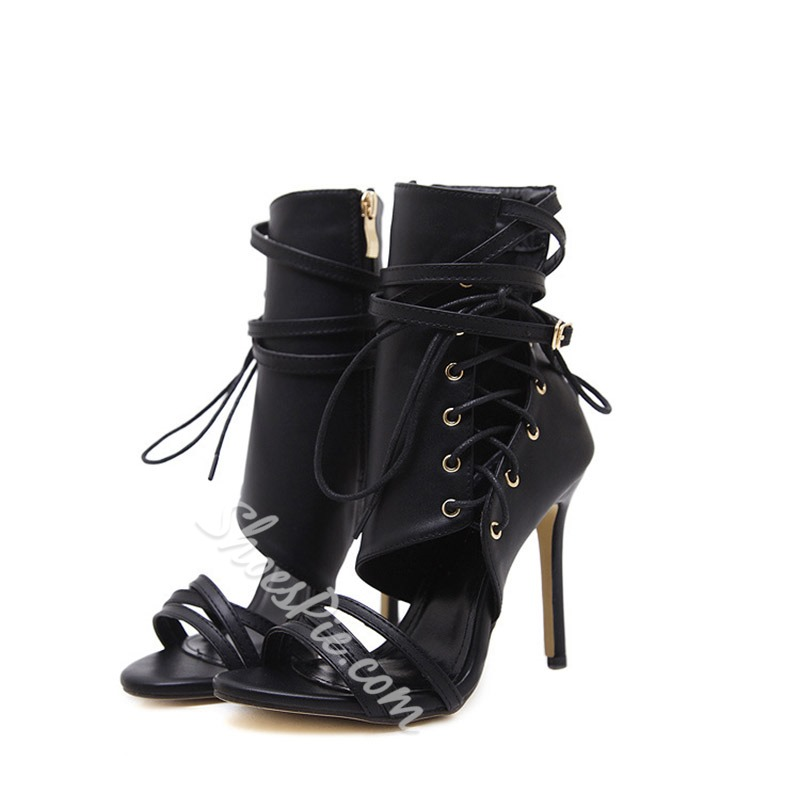 Shoespie Zipper Strappy Stiletto Heel Black Boots