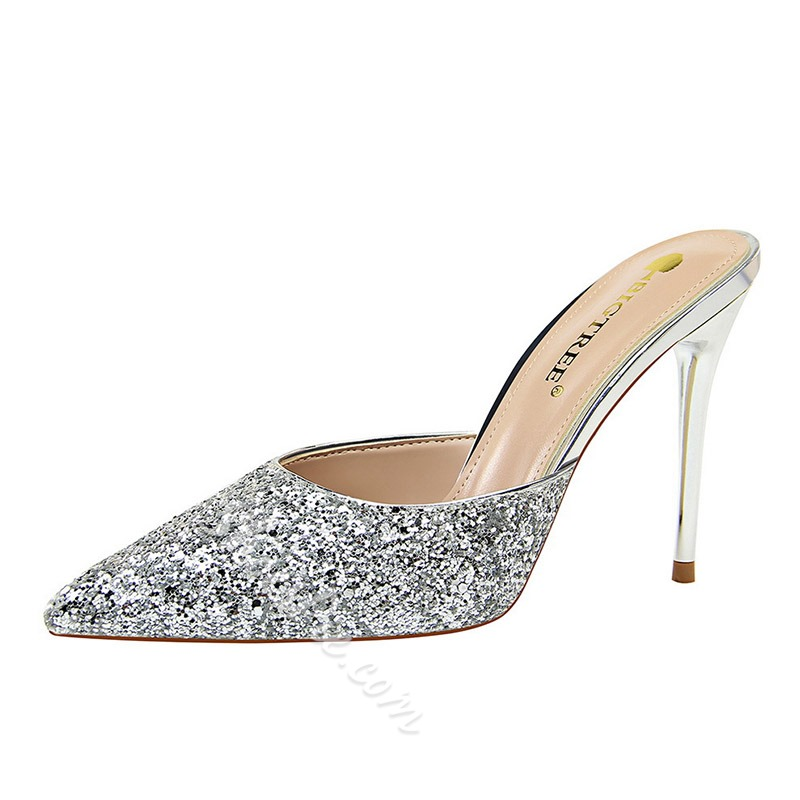Shoespie Closed Toe Stiletto Heel Sequin Casual Mules