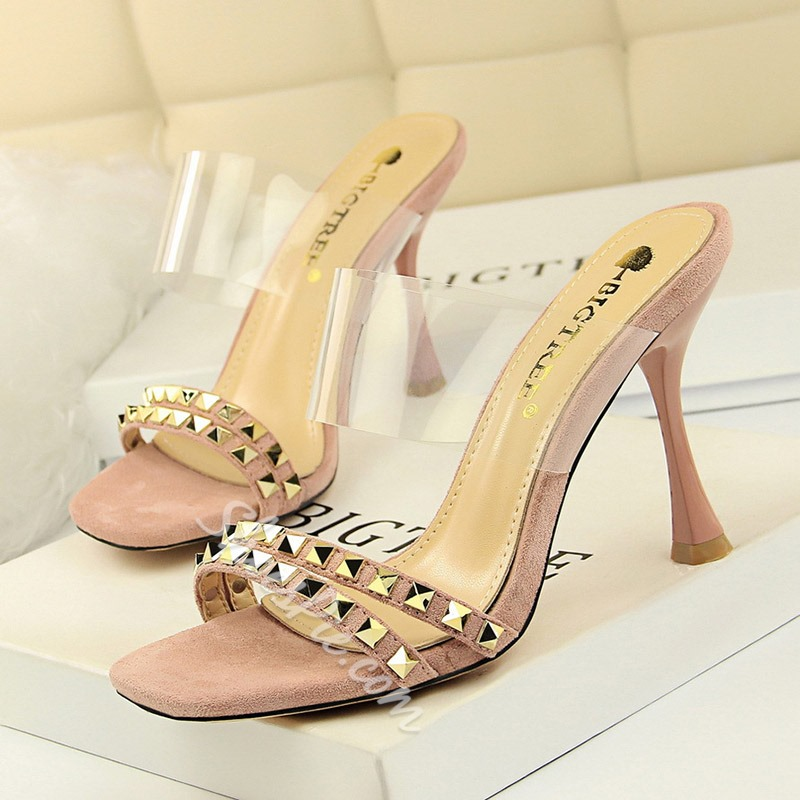 Shoespie Clear Rivet Backless Slippers