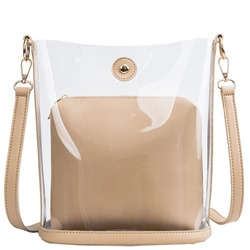 Shoespie Thread Plain PU Barrel-Shaped Tote Bags