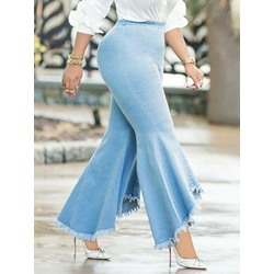 Tassel Plain Bellbottoms Slim Women's Jeans