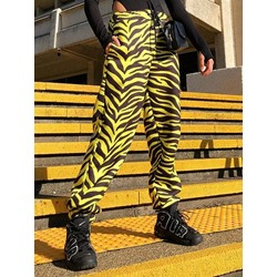 Loose Zebra Stripe Pleated Full Length Women's Casual Pants