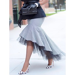 Falbala Asymmetrical Houndstooth Fashion Women's Skirt