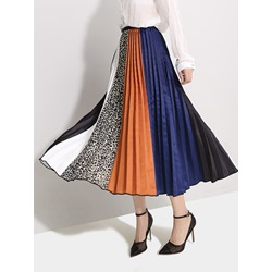 Mid-Calf Color Block Pleated Mid Waist Women's Skirt