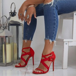 Shoespie Open Toe Buckle Strap Stiletto Heel Sandals