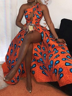 Floor-Length Print Sleeveless African Ethnic Style Women's Dress