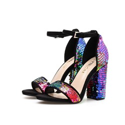 Shoespie Chunky Heel Buckle Sequin Sandals