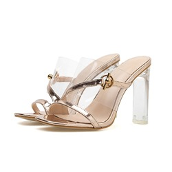 Shoespie Jelly Clear Chunky Heel PU Slipper