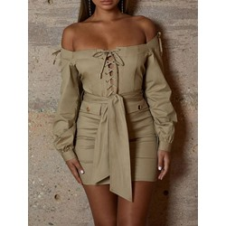 Above Knee Long Sleeve Off Shoulder Women's Bodycon Dress