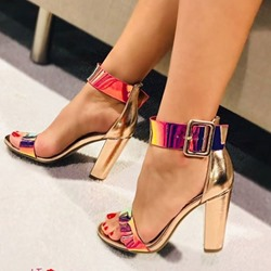 Shoespie Buckle Chunky Heel Open Toe Sandals