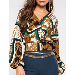 V-Neck Print Long Sleeve Short Women's Blouse
