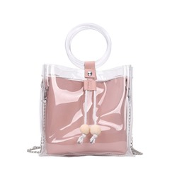 Shoespie PVC Chain Plain Square Tote Bags