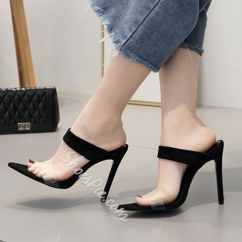 Shoespie Black Clear Stiletto Heel Mules
