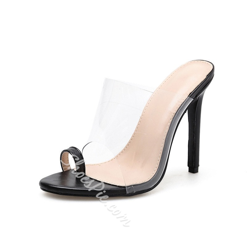 Shoespie Clear High Heel Toe Ring Slippers