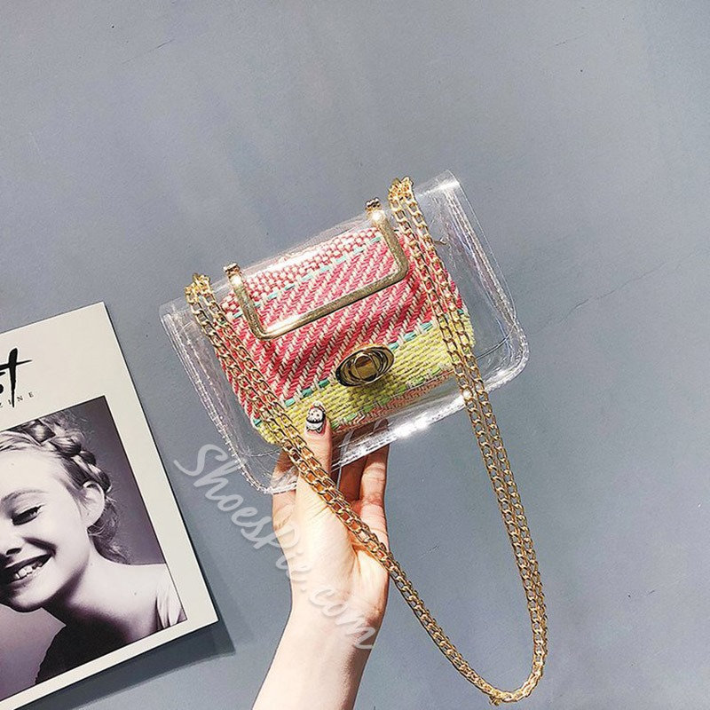 Shoespie Chain ABS Plastic Square Crossbody Bags