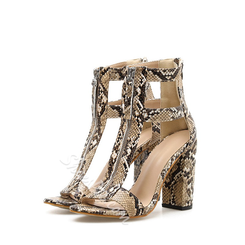 Shoespie Zipper Chunky Heel Sandals