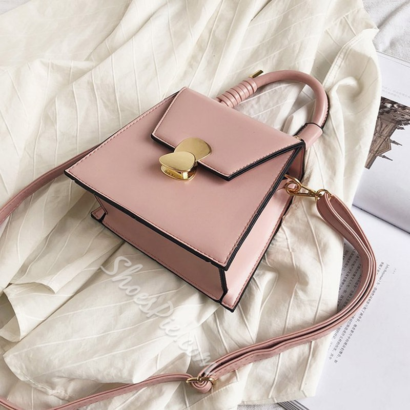 Shoespie PU Plain Lock Crossbody Bags