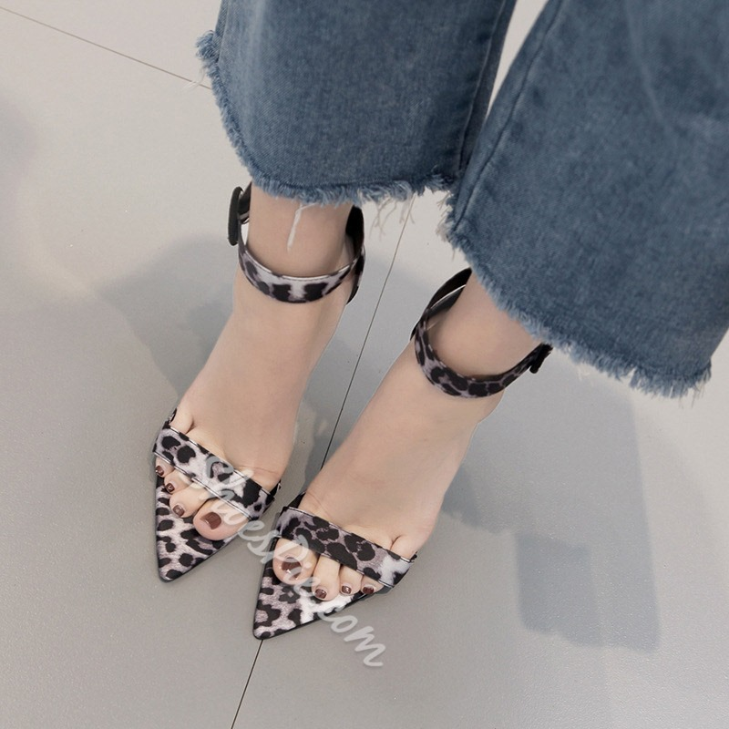 Shoespie High Heel Open Toe Buckle Leopard Sandals