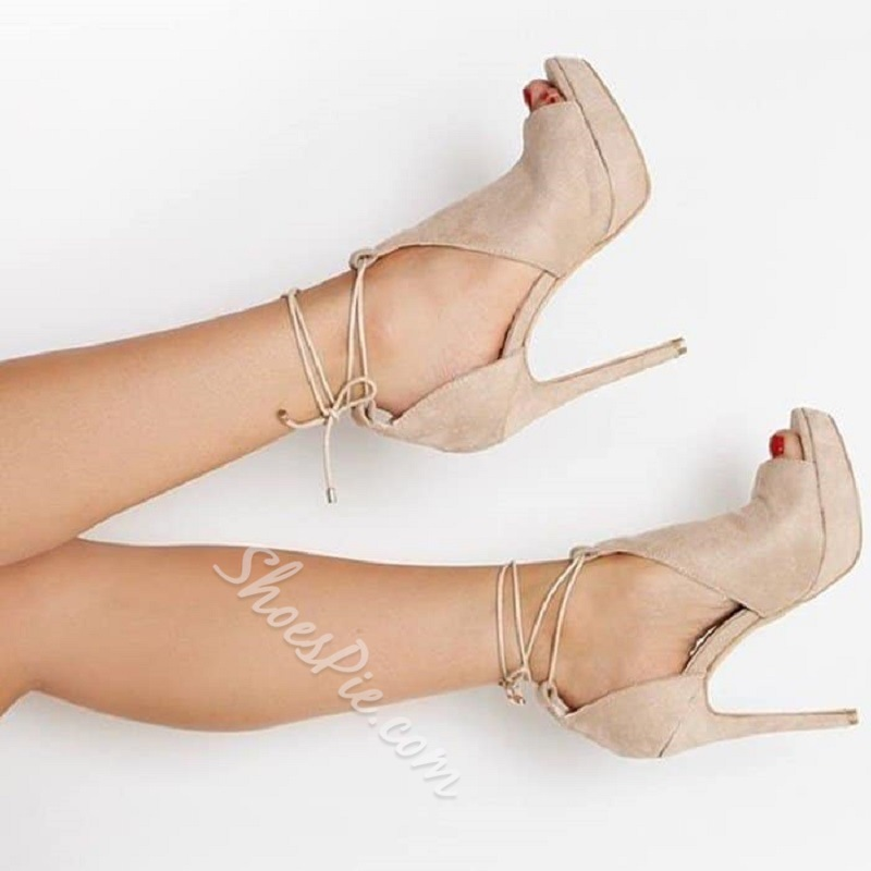 Shoespie Platform Lace-Up Peep Toe Heel Sandals