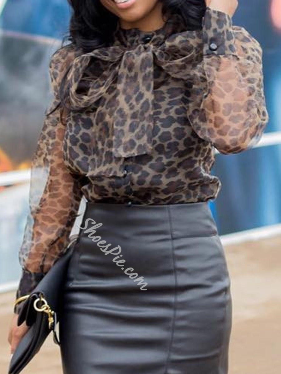 Lace-Up Lantern Sleeve Leopard Long Sleeve Women's Blouse