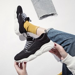 Shoespie Stylish Hollow Lace-Up Patchwork Sneakers