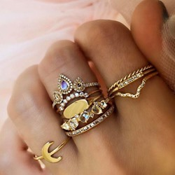 9 Pcs Set Retro Gemstone Diamante Ring for Women