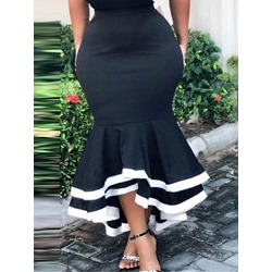Mermaid Floor-Length Color Block Sexy Women's Skirt