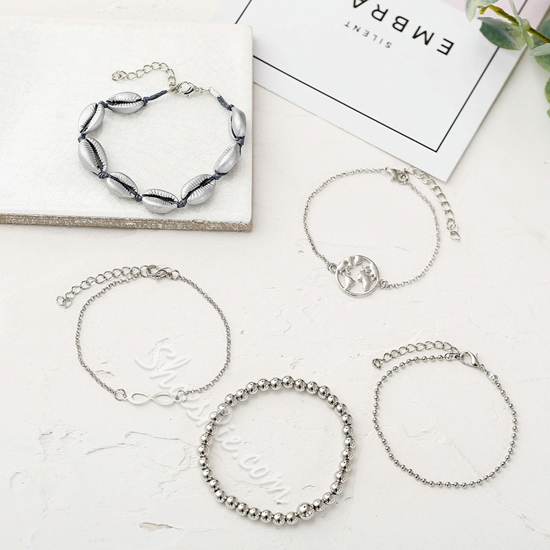 5 Pcs Vintage Beading Bracelets Set for Women
