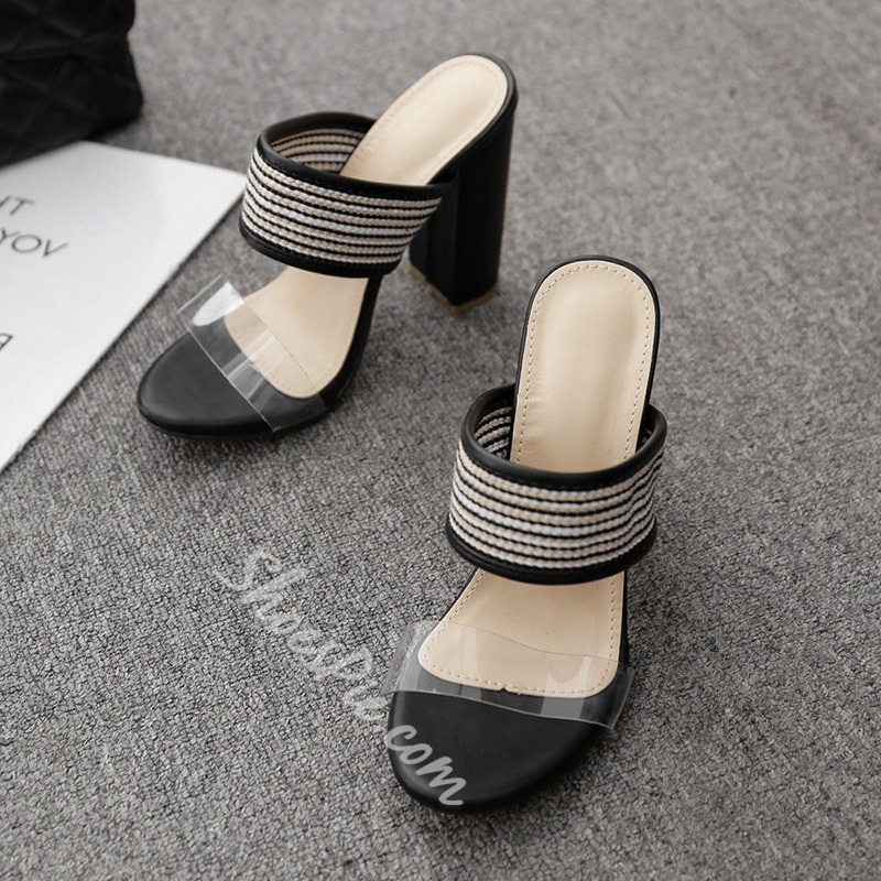 Shoespie Black Chunky Heel Clear Slippers