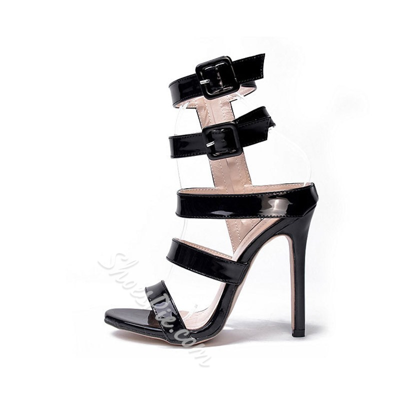Shoespie Black Zipper Stiletto Heel Sandals