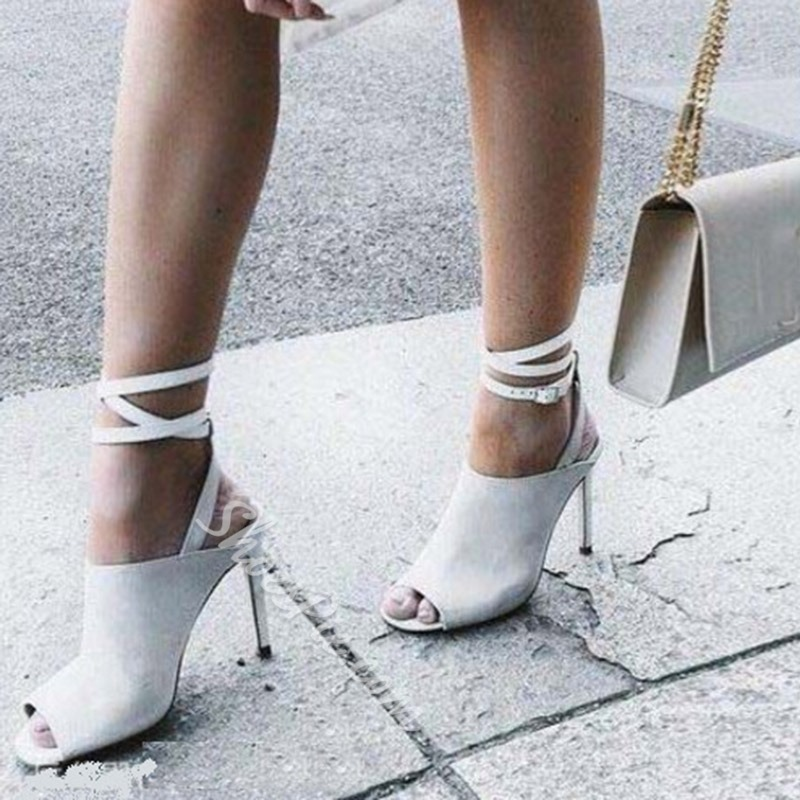 Shoespie Strappy Peep Toe Stiletto Heel Buckle Sandals