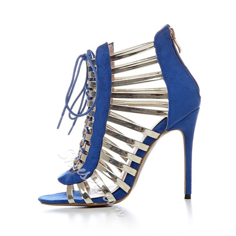 Shoespie Golden Strappy Lace Up Sandals