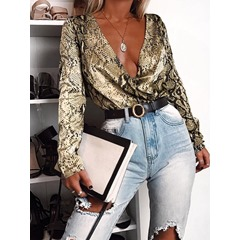 Regular Serpentine V-Neck Long Sleeve Women's Blouse