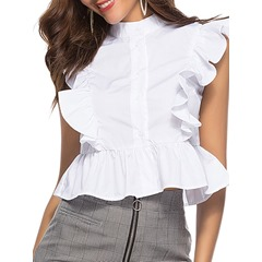 Ruffle Sleeve Button Plain Sleeveless Women's Blouse