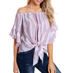 Flare Sleeve Off Shoulder Print Half Sleeve Women's Blouse