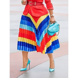 Pleated Mid-Calf Pleated Fashion Women's Skirt