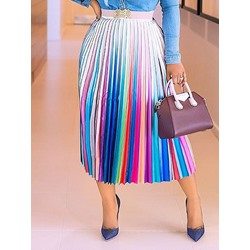 Mid-Calf Pleated Pleated Fashion Women's Skirt