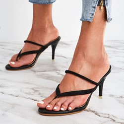 Shoespie Thong Stiletto Heel Slingback Dress Sandals