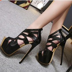 Shoespie Black Prom Stiletto Heel Zipper Banquet Sandals