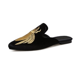 Shoespie Embroidery Flat Backless Closed Toe Slippers