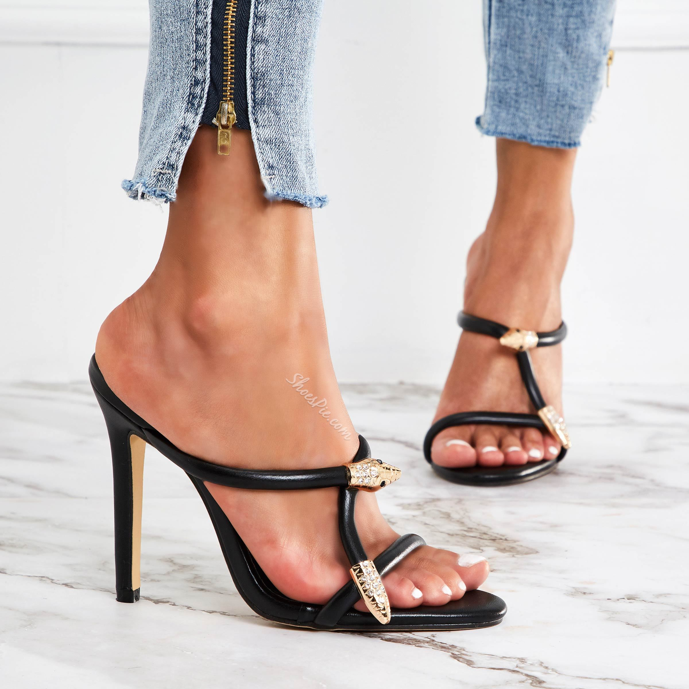 Shoespie Metal Black Open Toe High Heel Mules