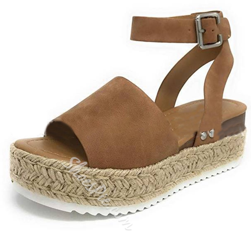 Shoespie Stylish Buckle Platform Ankle Strap Casual Sandals