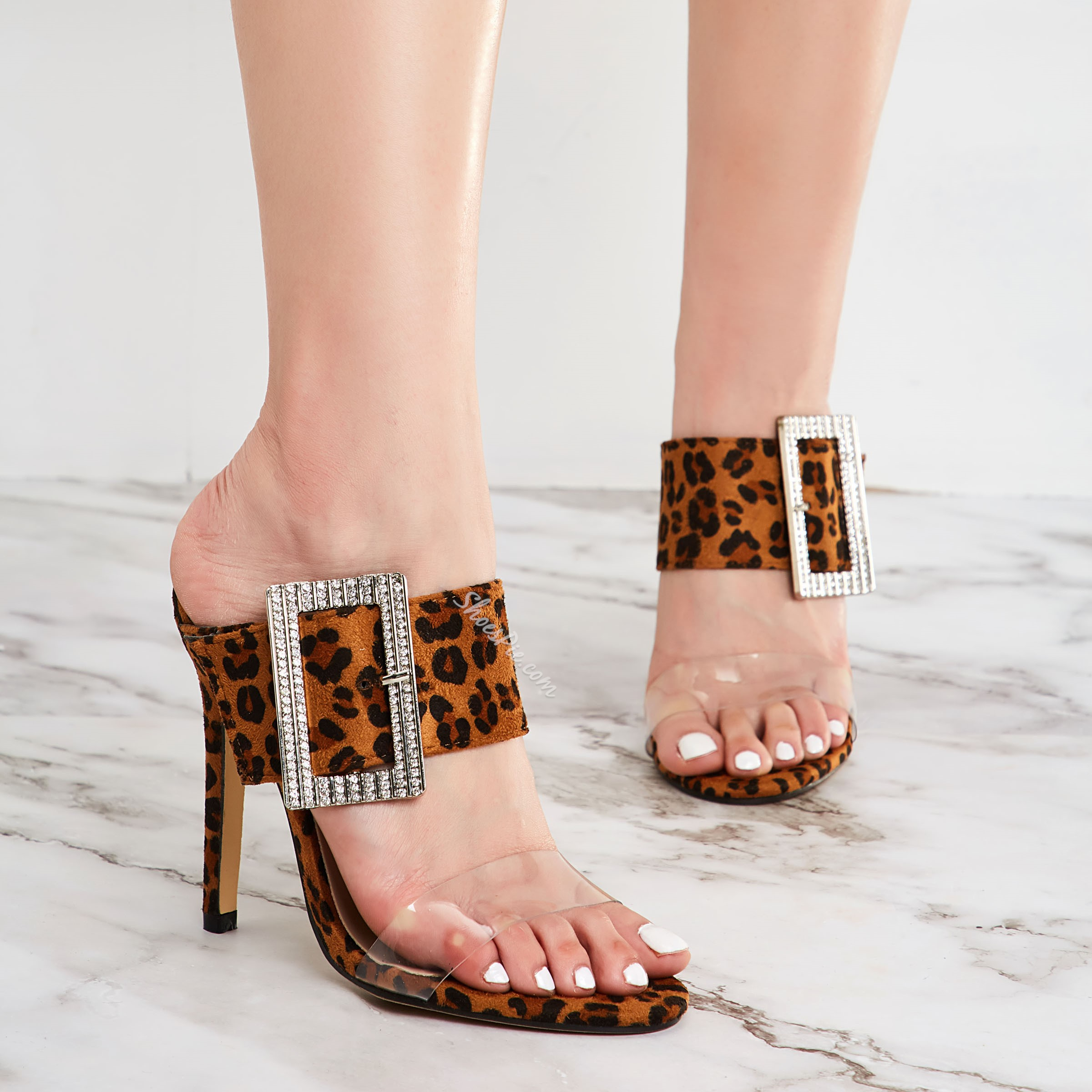 Shoespie Sexy Beaded Leopard Jelly Stiletto Heel Mules