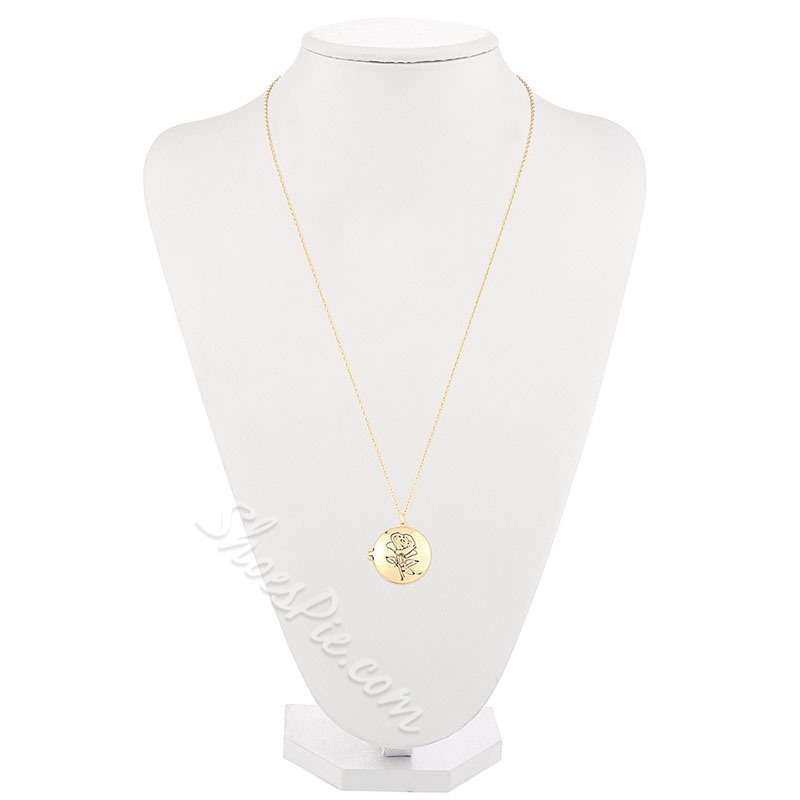 Vintage Gold Coin Shape E-Plating Pendant Necklace