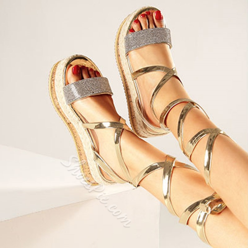Shoespie Open Toe Lace-Up Strappy Rhinestone Sandals