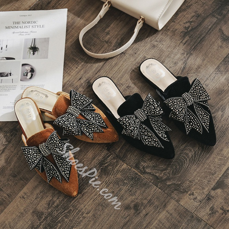 Shoespie Slip-On Bow Flat Beaded Slippers