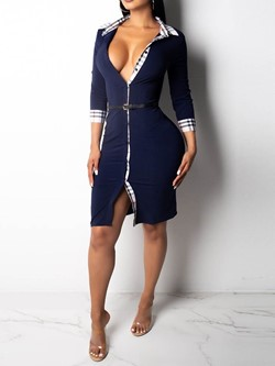 Knee-Length Half-Sleeve Single-Breasted Women's Bodycon Dress